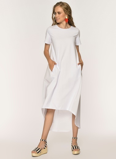 Loves You Arkası Poplin Cepli Elbise Beyaz